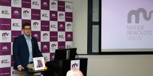 MELBOURNE, AUSTRALIA - OCTOBER 14: Alex Riewoldt addresses the media during a press conference for the Maddie Riewoldts Vision charity at the Royal Melbourne Hospital, Melbourne on October 14, 2015. (Photo by Sean Garnsworthy/AFL Media)
